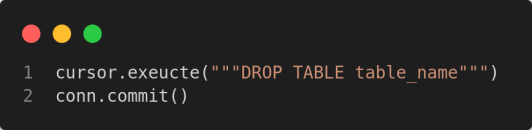 delete an entire table from sqlite database