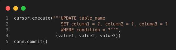 update values in sqlite database