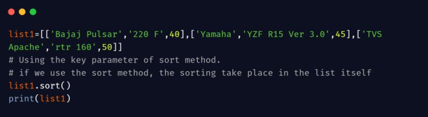 python sort list of lists