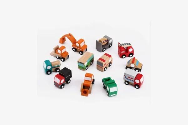 NaKita Kids Wooden Assorted Construction Vehicles and Traffic Trucks