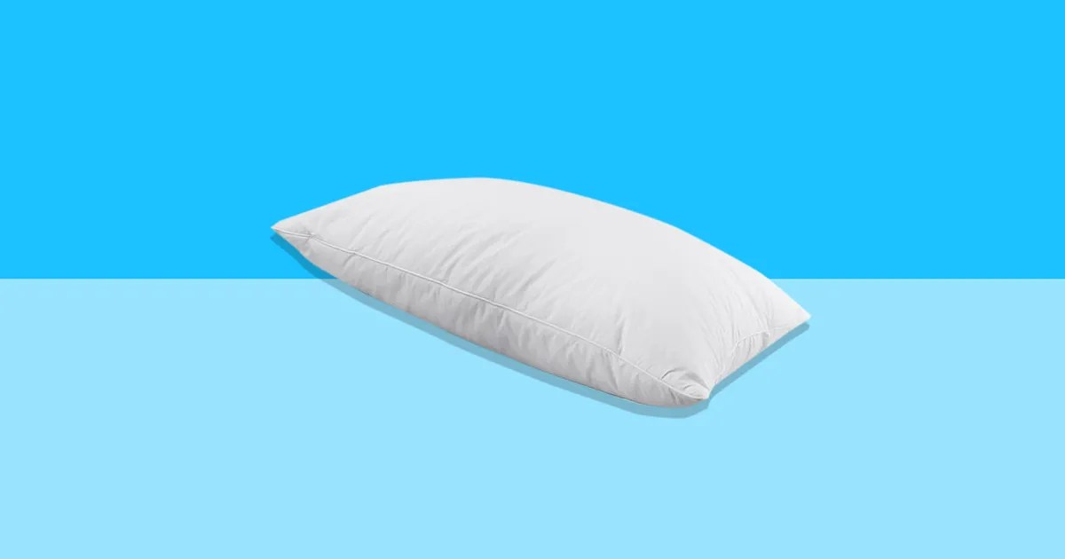 ideal for stomach sleepers this down and feather filled pillow is half off