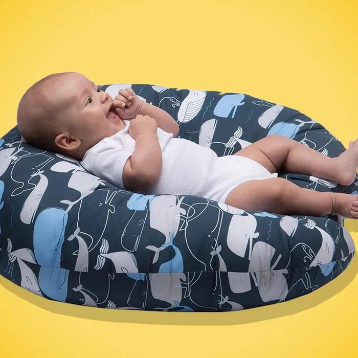boppy original newborn lounger big whale navy