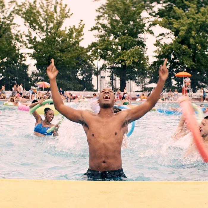 Corey Hawkins as Benny, dancing in Highbridge Pool.