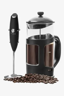 Bean Envy Professional Grade 34 oz French Press Coffee Maker & Premium Milk Frother