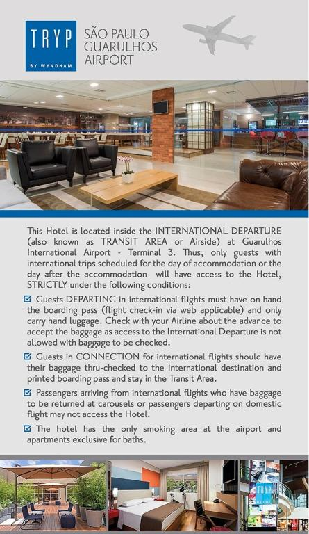 Tryp Transit Hotel Sao Paulo Airport Terminal 3 Guarulhos
