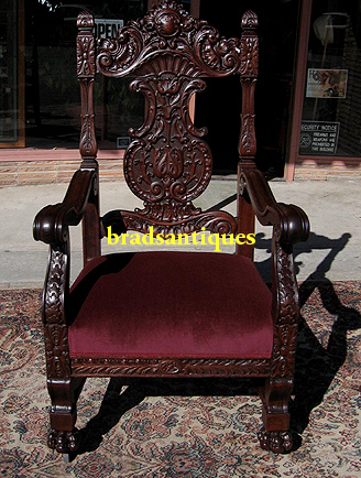 RJ Horner Mahogany Throne Chair
