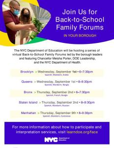 Read more about the article Back to School Family Forum for Queens on 9/1/2021