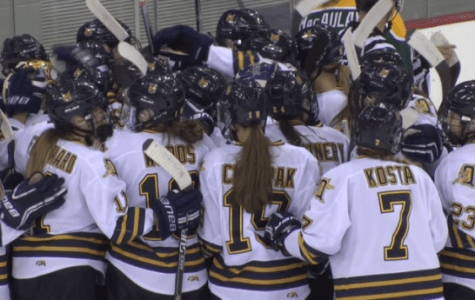 Laden, Woods lead women's ice hockey to win over Clarkson