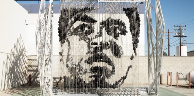 Muhammad Ali Portrait Made of 1300 Punching Bags