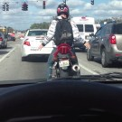 Biker Dancing While Waiting At The Red Light
