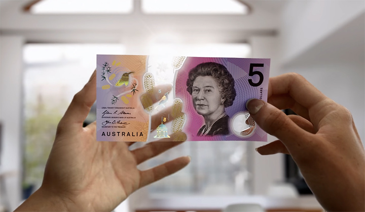 Australian Five Dollar Clear Banknote