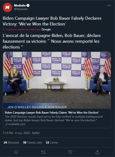 """Les résultats de l'élection de 2020 n'ont pas encore été entièrement vérifiés dans de nombreux États, mais l'avocat de Biden, Bob Bauer, a déclaré à tort, mercredi, que """"nous avons gagné l'élection""""."""