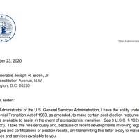 Q SCOOP - BOOM!! Voici la lettre de Émily Murphy à J.Biden pour la Transition.