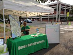 QA Greenways tabling at the Queen Anne Farmer's Market, August 2013.