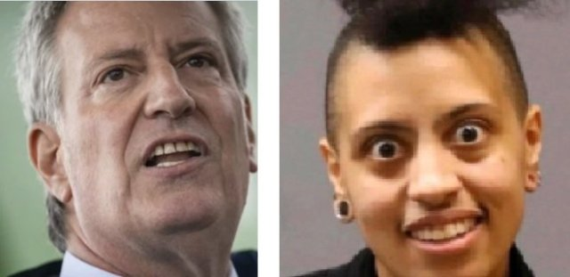 NYC Dictator de Blasio and his crazy eyed daughter Chiara. What socialist cult are they representing?  Who controls them?  Are they being paid off? Or is it something more sinister?