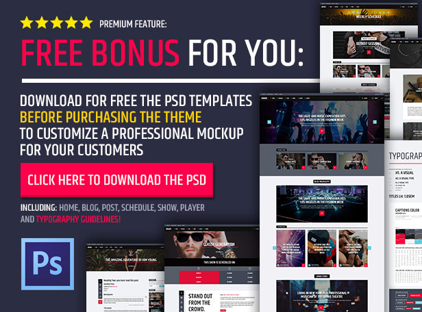 Radio Station WordPress Theme Photoshop template