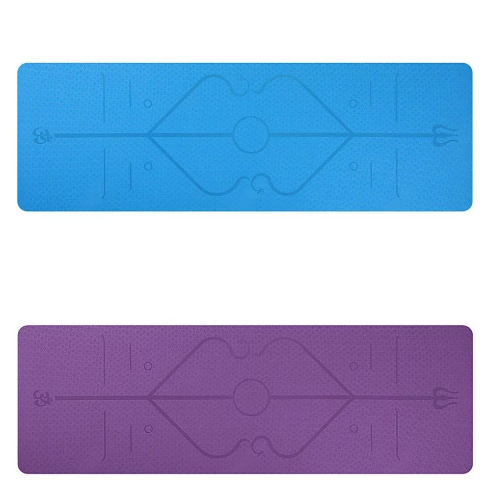 Non-Slip Yoga Mats with Position Lines