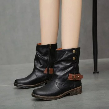 Vintage Martin Boots Round Toe Leather Booties Flat Ankle Zipper Boots Keep Warm Footwear Square Heel.jpg 640x640