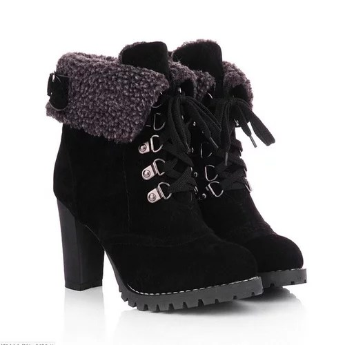 Winter Lace Up High Thick Short Boots Shoes Women Snow Boots Fur Leather High Quality Warm 3.jpg 640x640 3