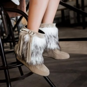 Women s Shoes Height Increasing Suede Plush Winter Snow Boots Round Toe Wedges Shoes Pure Color 1.jpg 640x640 1