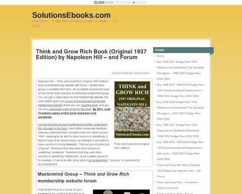Think and Grow Rich Book (Original 1937 Edition) by Napoleon Hill – and Forum | To subscribe to any newsletter (Dash, Money, Fat Loss, Self-Help, Spanish Books), click on the CONTACT link at bottom of this page and send email with which newsletter.  Currently other ways to subscribe are not working