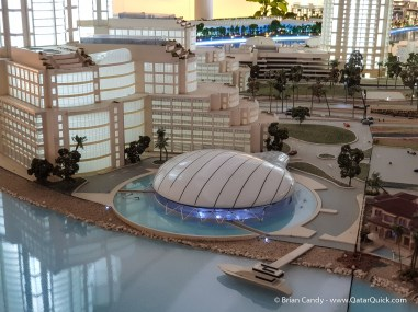 A model of the Pearl Visitor Centre, located in the Pearl Visitor Centre.