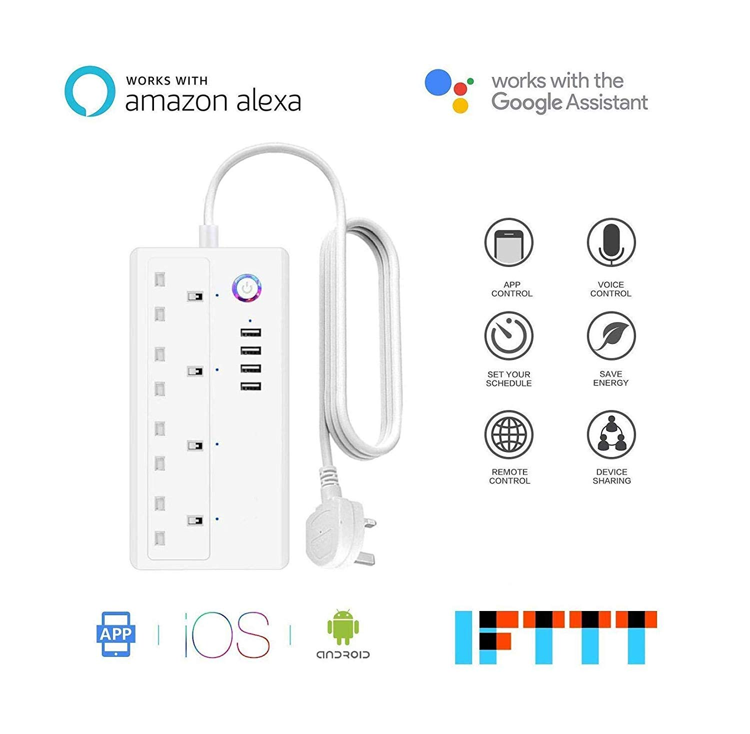 Smart Wifi Plug Extension iOS Android App Remote Control