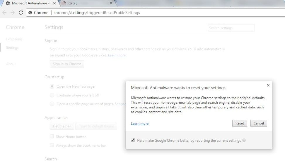 Chrome error in selenium - Microsoft wants to reset your