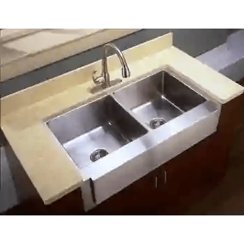 42 large double bowl undermount farm sink