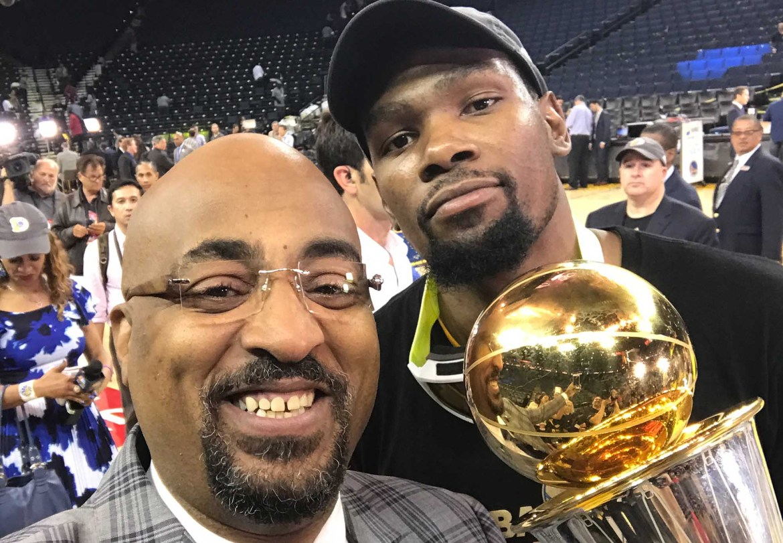 NBA TV Analyst Dennis Scott with NBA Finals MVP Kevin Durant