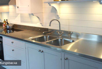 stainless kitchen build your own cabinets steel interiors purus limited worktop installed with a double sink