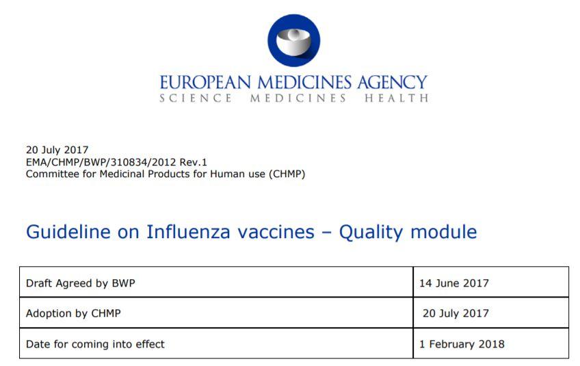 Influenza vaccines – Quality module