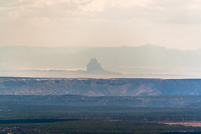 Shiprock 45 miles away in New Mexico, from Park Point, Mesa Verde National Park, Colorado