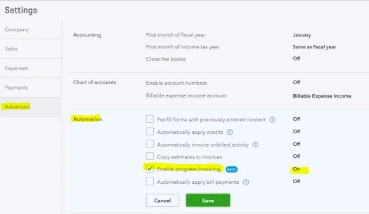 QuickBooks Online Progress Invoicing