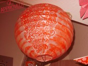 White paper lantern painted with red watercolor pencil. / QC APPROVED.