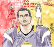 It has been well-documented that Christian Ponder has a cute girlfriend who works as a sideline reporter for ESPN's college football. It has also been well-documented that from the time the public learned of this relationship until last week, the Vikings found themselves in an unfortunate losing streak due in part to Ponder's inability to find receivers n' pass for more than 100 yards per game. This, however, all changed last Sunday when they swept their division rival, Lions. With a win to break their streak, Ponder was able to joke about his girlfriend helping him win during a press conference. This is not a jab at either party, simply poking fun at the irony of the situation. I'm cheering on the Vikings per usual, n' hopefully their next streak is a winning one. SKOL!
