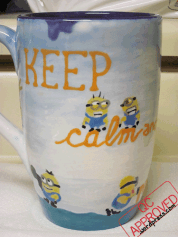 One side of the finished minion mug / QC APPROVED.