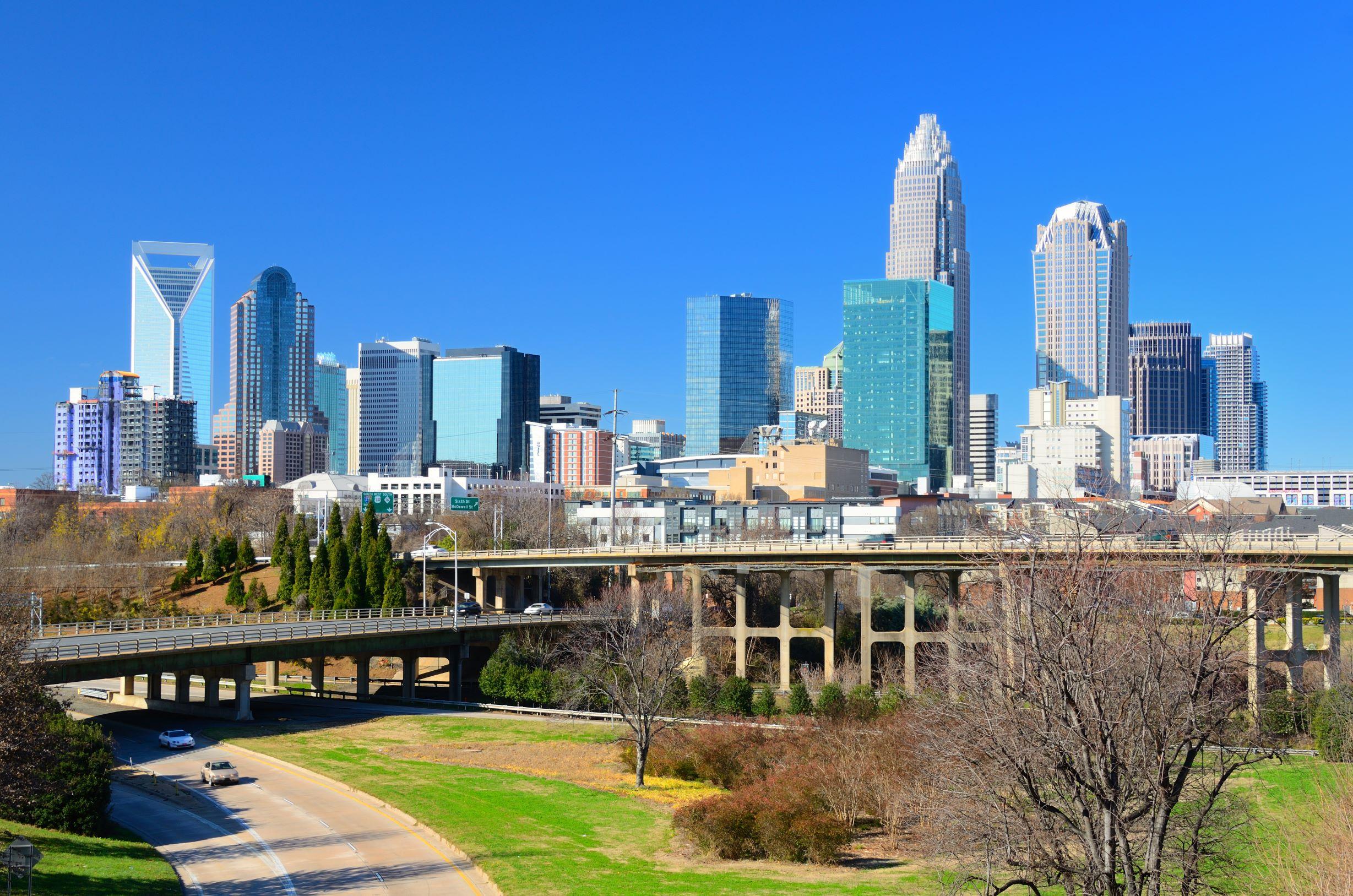 Charlotte-skyline-empty-roads