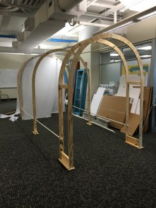 Side view of Tunnel frame with some fabric.