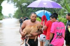05/10/2017 Las Fuertes lluvias de ayer inundaron el pueblo de Santa Cruz de Guanacaste, en esta ciudad abren varios albergues como en el Liceo de Santa Cruz Barrio Limón Harley Campos y la perra Beby .Foto Alonso Tenorio