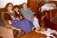 Lady, Mom Shlomith Kedem, 'Ofer Kedem and GrandMa Nehama Hirschberg, Watching TV at Our Living-Room, Early February 1991