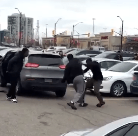 Two youths were arrested on Boxing Day at Square One after a fight broke out over a parking spot, said Peel Police. (Photo: Twitter/@WhoSFlyy__ )