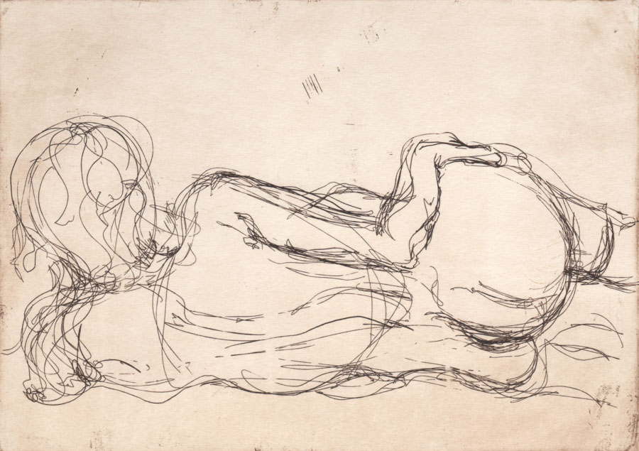 Nude - Laying Left (Hand on Hip), Hard ground etching. Edition of 15. Print size: 148 x 210mm. $380 / 550F
