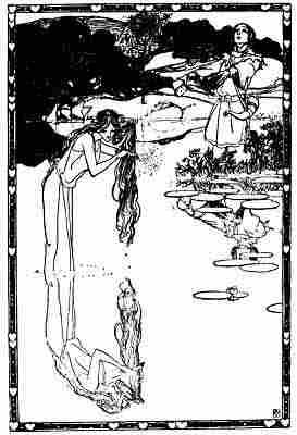 La Madre di Rhiwallon in un'antica incisione, fondatore del Meddygon Myddfai