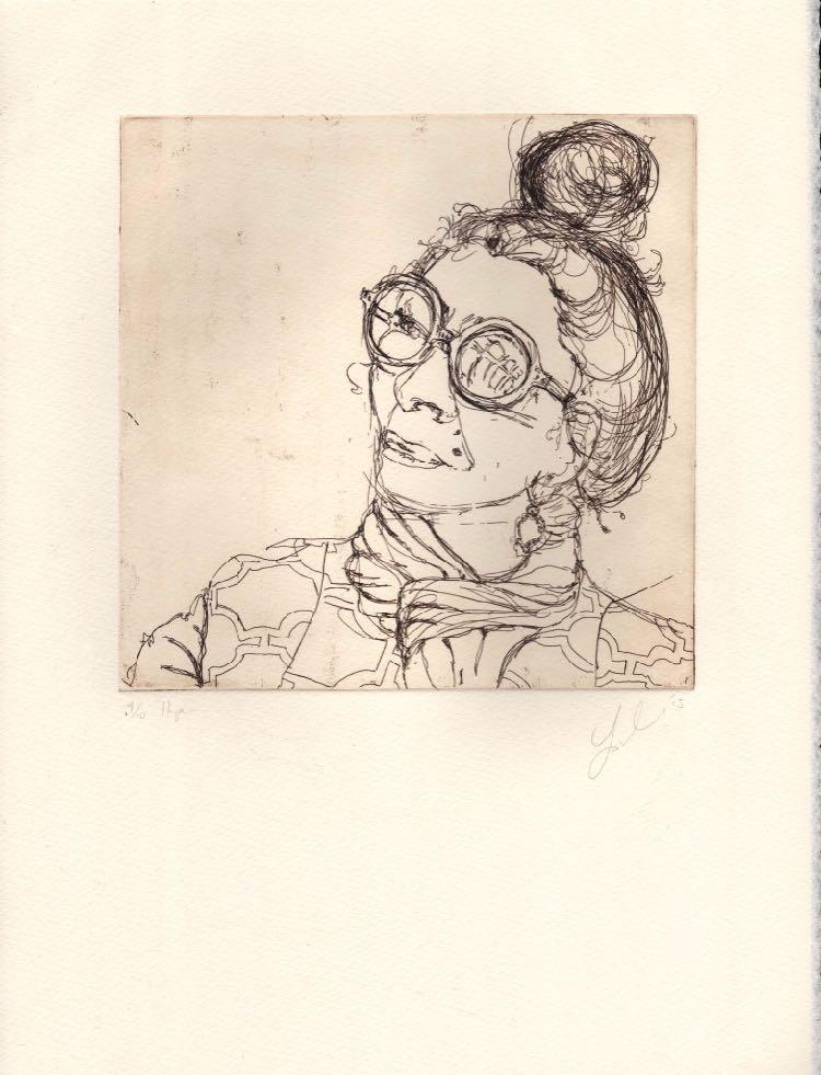 Hope etching by Soula Mantalvanos