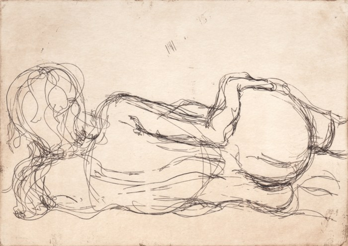 Nude laying left (Hand on Hip), Soula Mantalvanos
