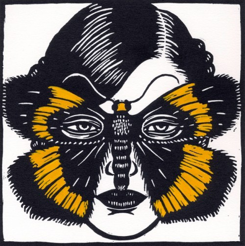Birthana cleis Moth Mask, 2009, linocut, hand coloured 15 x 15 cm