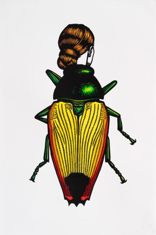jewel-beetle-woman-2014-linocut-hand-coloured-56