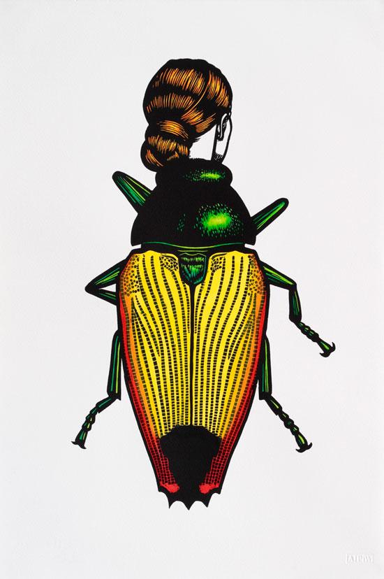 jewel-beetle-woman-2014-linocut-hand-coloured-56