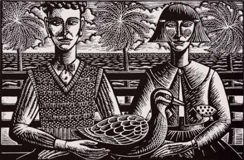 Deborah-Klein,-A-Man,-a-Woman-and-a-Duck,-1996,-linocut,30.5-x-46